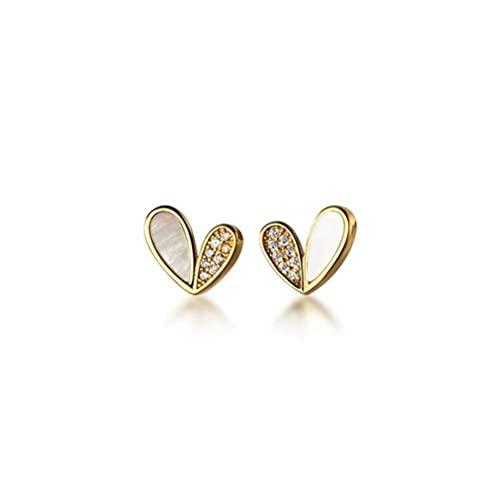 Good dress Pendientes de plata S925 pequeños de la concha del amor, simples pendientes en forma de corazón de diamante para las señoras s925 pendientes de plata