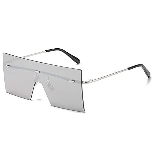 AMFG Caja grande marco gafas de sol hombres moda reflexivo colorido gafas de sol mujeres (Color : E)