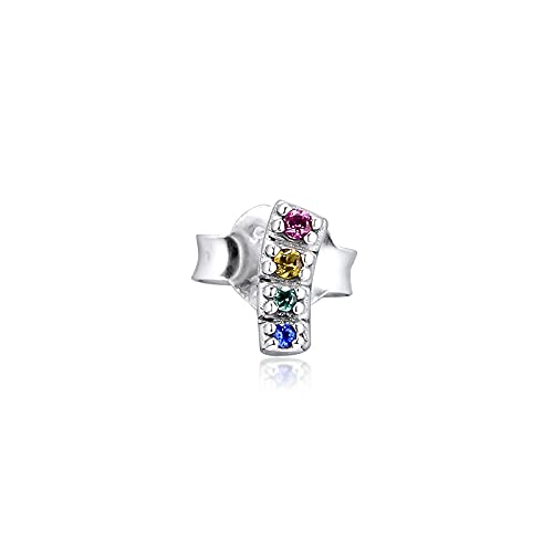 Plata De Ley 925 Pandora Ladies Bracelet Jewelry Beads My Pride Pendientes De Un Solo Botón Pendientes Kolczyki Aretes De Mujer Earing For Women Glamour Girl Gift