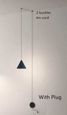 LukLoy Modern Light Black Metal Lungo Filo Forma di Cono Lampada a Sospensione Isola della Cucina Hanging Lampada da Comodino Sospensione Illuminazione (Body Color : 4m with Plug)