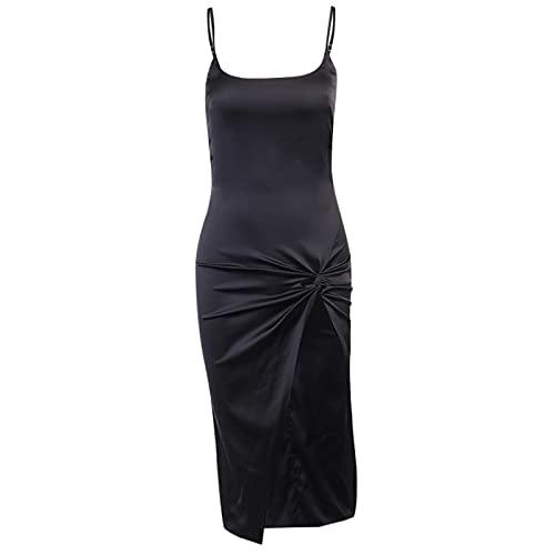 Vestidos de Mujer Gótico Sexy Spaghetti Correas Negro Vestido High Cintura Slit...