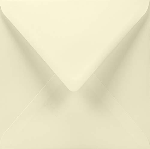 100 Elfenbein quadratische Briefumschläge, 155x15 5mm, 100g, Lessebo Smooth Ivory, Spitzklappe, ohne Fenster, ideal für Einladungskarten, Geburtstagskarten, Glückwunschkarten, Briefe