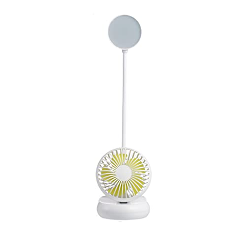Lámpara de escritorio LED Escritorio de protección de ojos Especial Recargable Recargable Ventilador de cabecera de doble uso para estudiantes de escuela primaria, niña de dormitorio (Color : White)