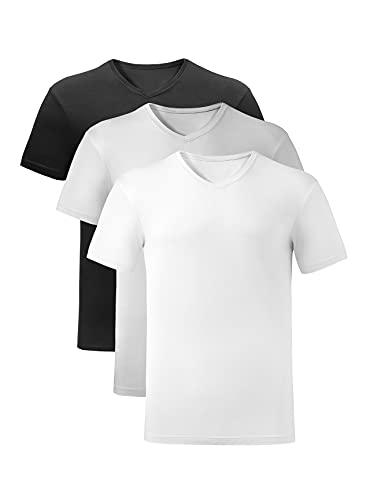 MOLISOHO 3 Pack transpirable de rayón de bambú para hombre, camiseta de manga corta con cuello en V para hombre, M, Negro, blanco y gris