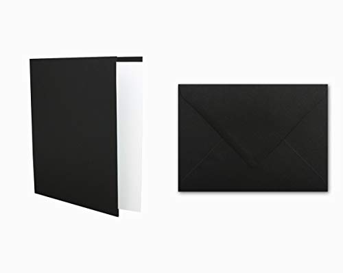 25x Einladungskarten Set inklusive Briefumschläge & extra Einlegeblätter - Blanko Klapp-Karten in Schwarz im DIN A6 Format - speziell zum Selbstgestalten & Kreieren