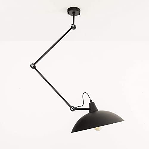 Lámpara de techo Salón Salón Lámpara Negro metal Altura Regulable Lectura Flexible Articulaciones techo