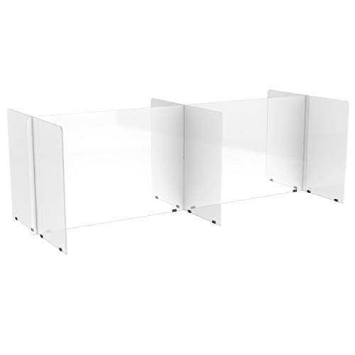 FDP Clear 3/16' Thick Double-Sided 4-Section Acrylic Tabletop Divider; Sneeze, Cough, Talk Guard, Protective Plexiglass Barrier, Desk Shield, Designed to Fit 30 x 72 inch Rectangle Tables; Seats Four