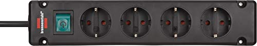 Brennenstuhl Bremounta Steckdosenleiste 4-fach (Mehrfachsteckdose mit 90 Grad Steckdosen, Steckerleiste mit Befestigungsmöglichkeit und 1,5m Kabel) schwarz