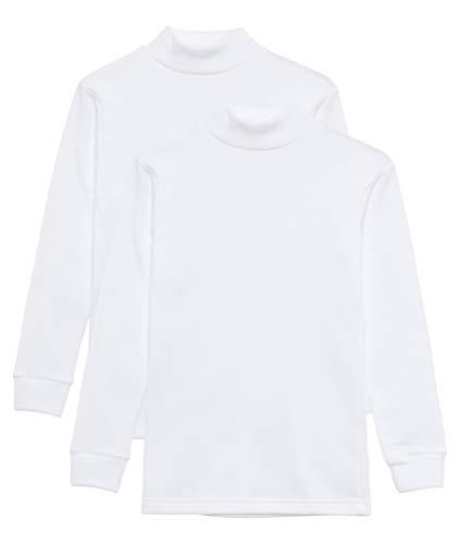 Camiseta Térmica Interior Niños Cuello Medio Alto Semi Cisne Manga Larga Colores Lisos. Pack de 2 Camisetas (Blanco, 4 años)