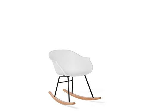 Beliani Trendy skandinavischer Schaukelstuhl in Weiss mit Holzkufen Harmony