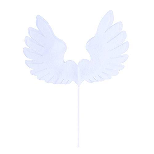 Hemoton 1 Stück Angel Wing Cake Topper Dekoration mit LED-Licht für Jubiläum Geburtstag Party & Hochzeit (weiß)