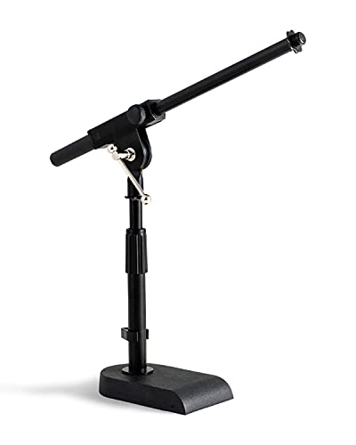 """Stage Rocker Adjustable Low-profile Microphone Stand - Snare/Tom Bottom/Bass (Kick) Drum/Table Top, Adjustable Height, 15.75"""" Telescoping Boom Arm, Clip-on cable holder, Powered by Hamilton (SR610111)"""
