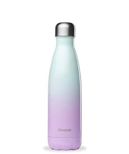 Qwetch – Isolierflasche Edelstahl 500 ml – Hält Ihre Getränke 12 Stunden warm und 24 Stunden kühl – BPA Free –Sakura Weiß Rot