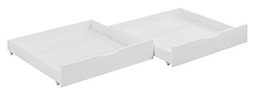 CABALLEROS Y PRINCESAS Set de Dos cajones para literas - Blanco Lacado, 90 x 190