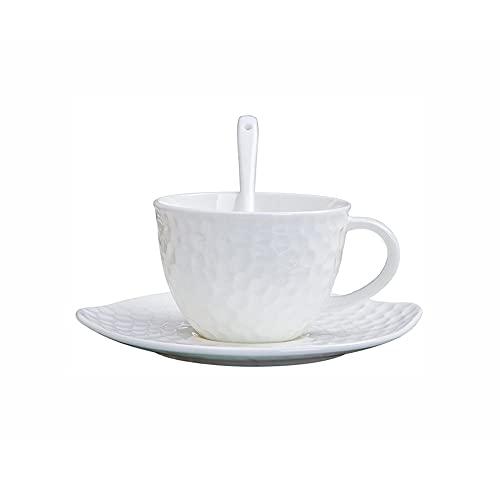SXXYTCWL Taza de café Estilo Europeo Simple Coffee Tazas y platillo Conjunto Cerámica Tazas de café Home Classic Color Pure EPRESSO Cafe Cafe Tapa Adecuado para EL CAFÉ DE Hostel 240ml