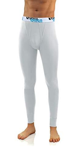 Sesto Senso Herren Lange Unterhose Baumwolle Thermo Unterwäsche Funktionsunterwäsche Winter L Weiß