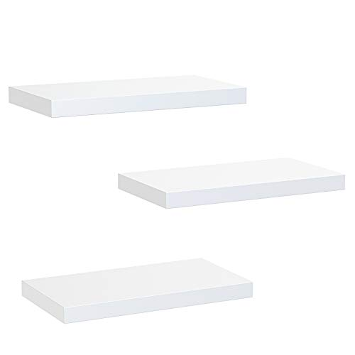 Amada White Floating Shelves Invisible Wall Mounted 3 Sets, Modern Faux Wood Storage Shelves with Matte Finish, Perfect for Bedroom, Bathroom, Living Room and Kitchen Storage AMFS08