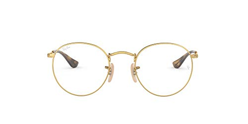 Ray-Ban RX3447V Metal Round Prescription Eyeglass Frames, Gold/Demo Lens, 50 mm