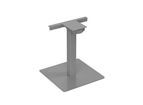 FromLahtiWithLove TARJA Ergonomisches Sitz- und Stehpult, Elektrisch Höhenverstellbar, Einbeiniger Tischrahmen, Dreistufige Säule mit Quadratischem Fußteil, Grau