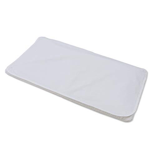PuckDaddy Wickelauflage Celine 71 x 41 cm, Wickelunterlage waschbar, Wickeltischauflage aus Baumwolle für Wickelkommoden, weiß