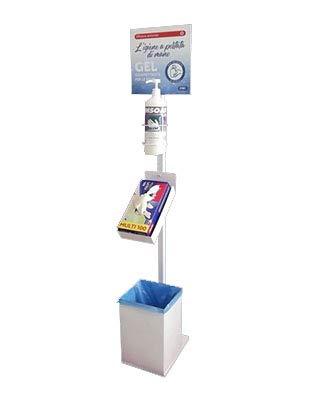 Totem - Columna 3 en 1 para dispensador de gel desinfectante de manos, soporte para guantes y cesta