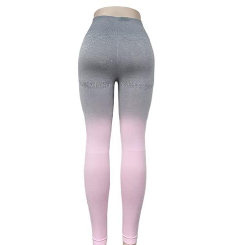 QTJY Señoras Deportes Fitness Pantalones de Yoga Leggings de compresión gradiente Pantalones sin Costuras Estiramiento de Cintura Alta Pantalones de Fitness para Correr EM