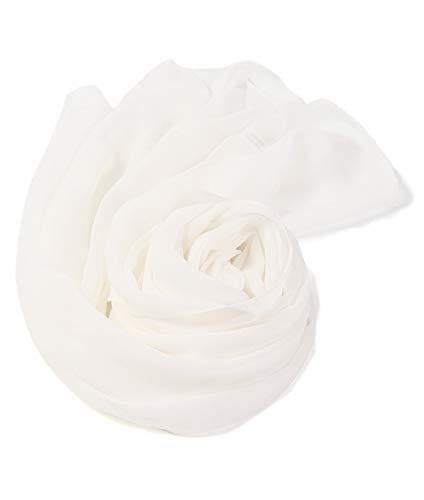 sciarpa bianca prettystern 180 cm Lunga Stola Sciarpa Foulard cerimonia Leggera Pura Seta Crepe Georgette -bianco