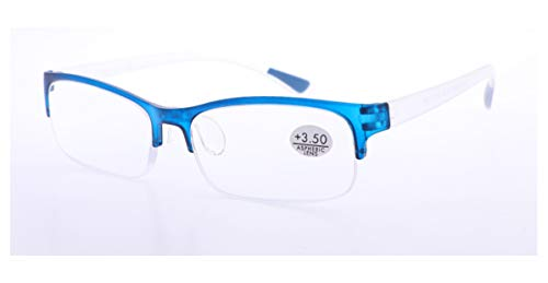 PANTONA Gafas Lectura Cristales AL Aire. Gafas Presbicia, Gafas Vista Cansada, Cristal al Aire, Juveniles, Colores Divertidos 6 Colores y 7 graduaciones. Montura Azul