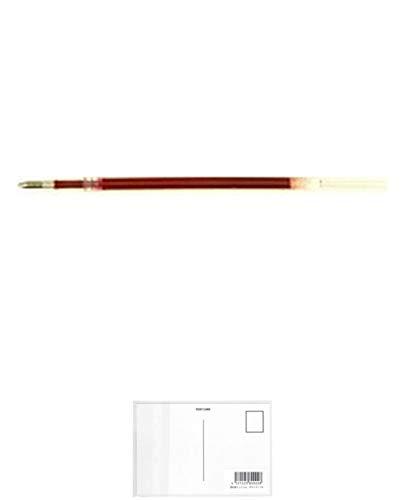 ゼブラ エマルジョンボールペン替芯/リフィル EQ-1.0芯 赤 REQ10-R 【 5本 】 + 画材屋ドットコム ポストカードA