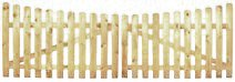 XycoX StaketenTor 'Premium' 300x100/85 cm - unten – kdi / V2A Edelstahl Schrauben verschraubt - aus getrocknetem Holz glatt gehobelt – nach unten Gebogene Ausführung - kesseldruckimprägniert