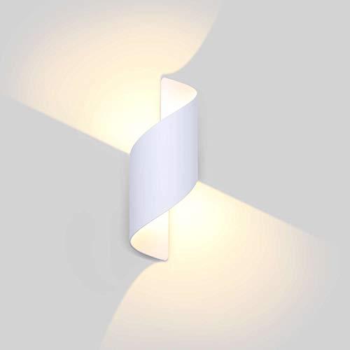 Lightess 12W Lampada da Parete Esterno Applique Interno Moderno Lampada Muro LED Impermeabile IP66 Luce in Alluminio per Giardino, Patio, Balcone, Bianco, Bianco Caldo 3000K