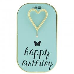 Wondercandle Buon Compleanno Tortino Pan di Spagna con Gocce Cioccolato in Mini Lattina Metallo e Candelina Scintillante - 1 x 52 Grammi