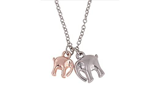Exquisito Collar con Colgante De Dos Elefantes Moda Bebé Elefante Animal Cadena De Clavícula Regalo del Día De La Madre