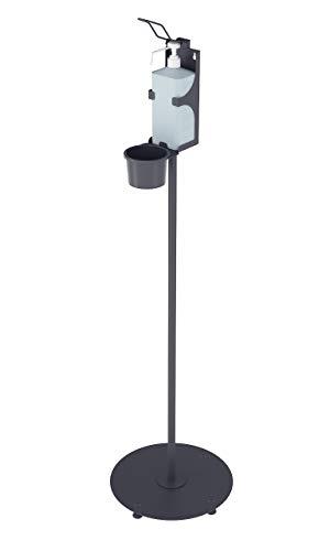 Magnet Ltd Desinfektionsständer für Desinfektionsmittel der Hände - Säule mit rundem Standfuss & Armhebelspender - Idealer Desinfektionsspender für Öffentliche Gebäude (SDM-4) (Schwarz)