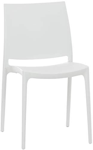 CLP Silla Apilable Maya De Exteior o Interior | Silla De Jardín Resistente A La Intemperie | Silla De Terraza Hecha De Polipropileno I Color: Blanco