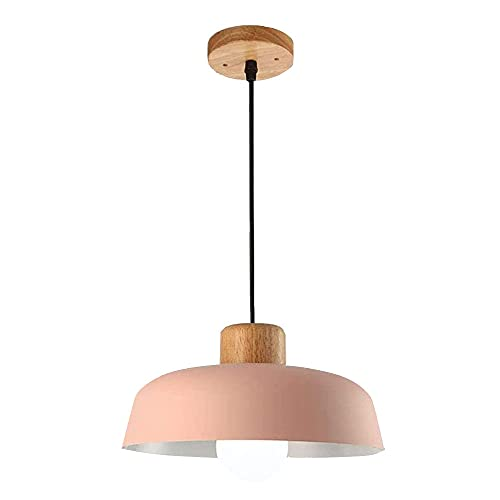 Lámpara de techo colgante rosa de metal para dormitorio retro industrial E27 portalámparas de madera decoración colgante altura regulable araña niña dormitorio habitación princesa D30 cm