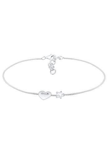 Elli Armband Damen Herz Sterne Astro Symbol Filigran aus 925 Sterling Silber