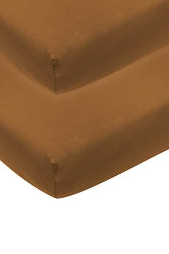 Meyco 563207 2-pack hoeslaken, wieg, camel