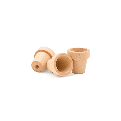 Craft Flower Pot -1 Inch Tall and 1 Inch Wide at Opening - 12 Pack - Unfinished Wood Flower Pot by Woodpeckers