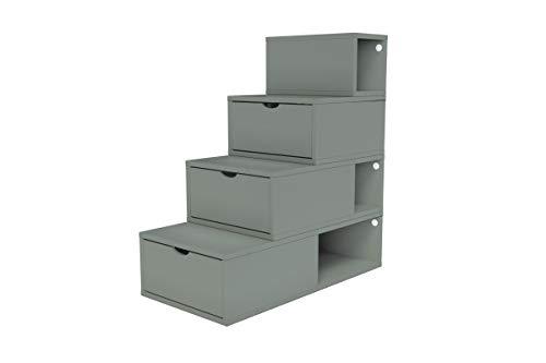 ABC MEUBLES - Escalier Cube de Rangement Hauteur 100 cm - ESC100 - Gris