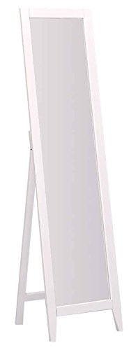 Kings Brand Furniture - White Finish Solid Wood Frame Free Standing Floor Mirror