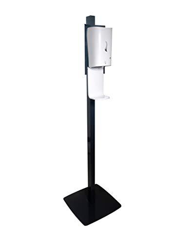 Avex Hygieneständer mit berührungslosem Desinfektionsmittelspender und Tropfschale. Solide und kippsichere Konstruktion. Antibakterielle Oberfläche Schwarz.