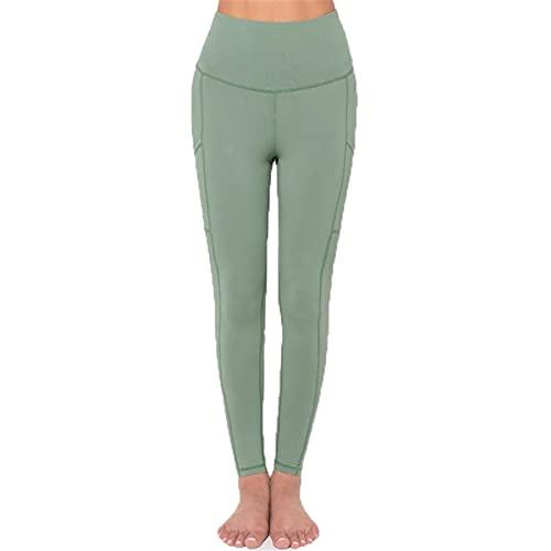 Leggins Mallas Pantalones Deportiva Niña, Crunch de las mujeres Crujido fruncido tope Elevando las medias Leggings High Cintura Control de la abdomen Pantalones de yoga Pantalones elásticos con bolsil