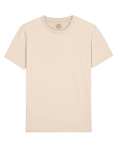 MIVESTONATURALE Camiseta de hombre de manga corta de algodón orgánico para el tiempo libre orgánico, unisex Natural Cream L