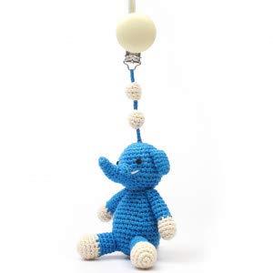 natureZOO Cadena para cochecito, juguete para el cochecito, 1 clip de 20 cm, elefante azul para niños con cascabeles de hilo de bambú 100% certificado ecológico