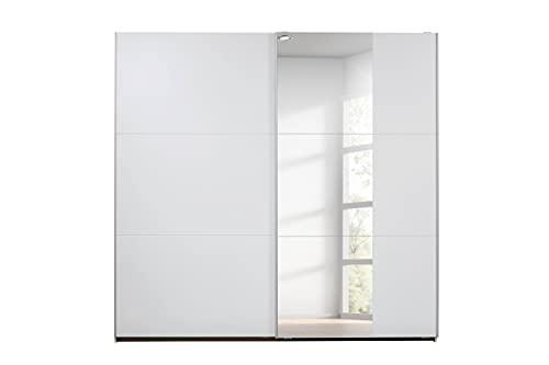 Rauch Möbel Santiago Schrank Schwebetürenschrank Weiß mit Spiegel 2-türig inkl. Zubehörpaket Classic 4 Einlegeböden, 2 Kleiderstangen, 1 Hakenleiste, BxHxT 218x210x59 cm