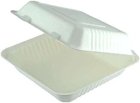 Clam Container 9 x 9 Inch Disposable Biodegradable and Compostab