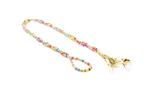 ETUUI Brillenkette mit bunten Perlen – Maskenkette & Brillenband zum Umhängen, Brillenhalter & Maskenhalter Kette in Bunt