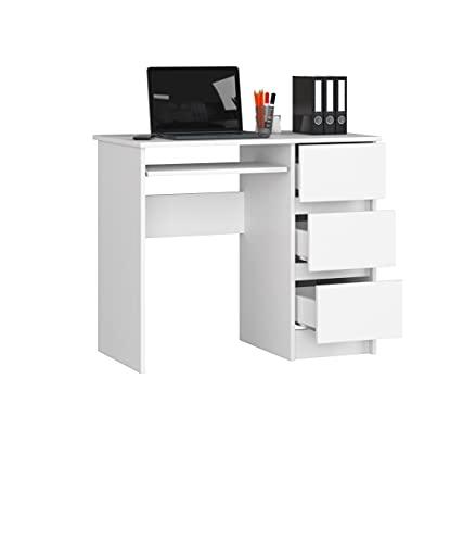 Mesa de oficina con 3 cajones, izquierda o derecha, para escritorio, mesa de escritorio, mesa de escritorio infantil, mesa de trabajo, mesa de ordenador, habitación infantil, color blanco