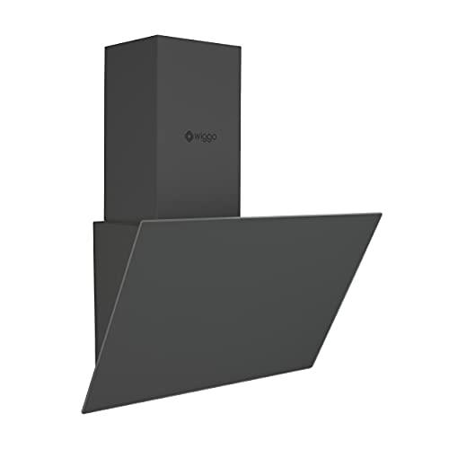 Wiggo Dunstabzugshaube 60cm kopffrei I Abluft Umluft Dunstabzug 300m³/h - LED Touch-Bildschirm 3 Stufen I Schräghaube inkl. Fettfilter und 2x Kohlefilter I Abzugshaube mit Glasfront grau